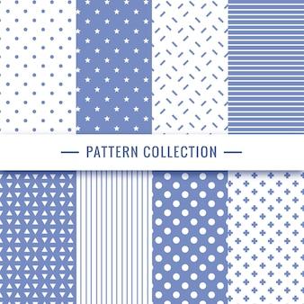 Геометрическая коллекция бесшовных узоров в синих тонах