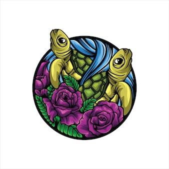 Черепаха цветок логотип