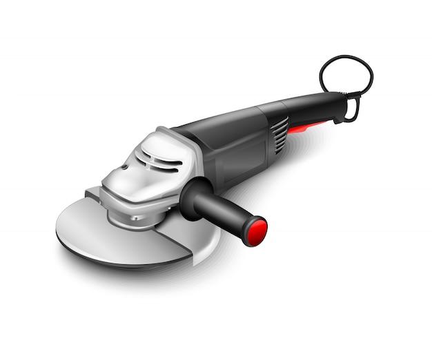 平らな黒い手研削研磨機。電動工具の建築設備。丸鋸
