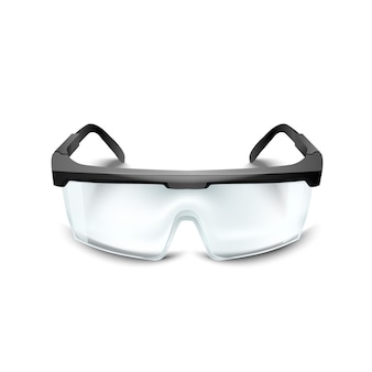 白い背景の上のプラスチック安全メガネ。建設、医学、スポーツ用の作業用ゴーグル目保護具