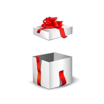 赤いリボンと赤い壁の中で空の白いギフトボックスを開きます。図。