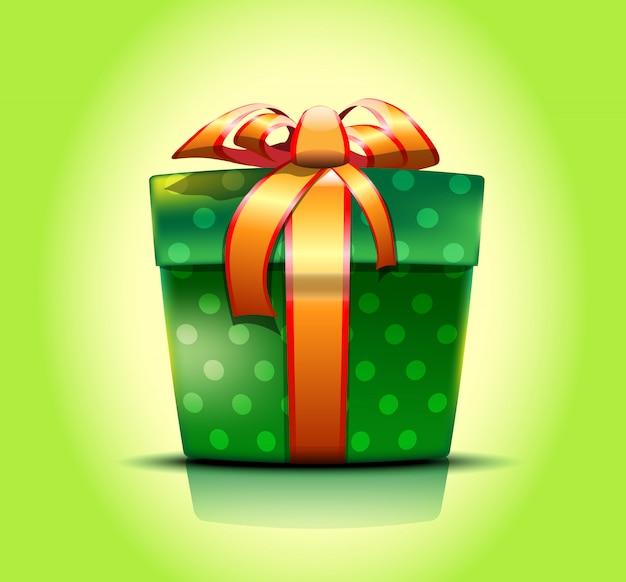 Закрытая зеленая подарочная коробка с украшениями из точек, завязанными золотой лентой с бантиком. иллюстрация