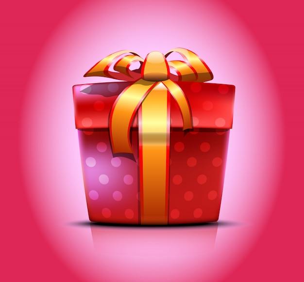 Красная зеленая подарочная коробка с украшениями из точек привязана золотой лентой с бантиком. иллюстрация