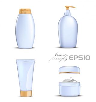 白い背景の上の金のふた付きプレミアム化粧品。シャンプー用イラストボトル、石鹸用パッキングオープンラウンドパッケージ、クリーム入り、歯磨き粉または化粧品用チューブ