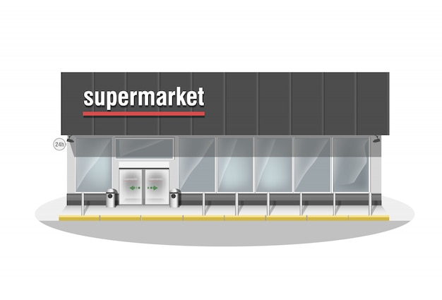 スーパーマーケットで構成されています。プレミアムビッグショップのショーケースとエントランス自動ドア。白いパノラマの窓のある店。