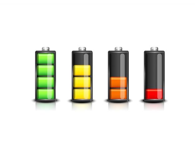 Набор индикаторов уровня заряда батареи. значки иллюстрации