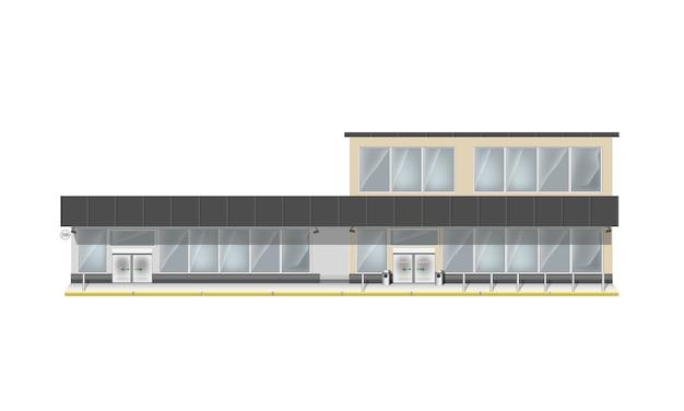 Здание для супермаркета или бизнес-центра. большая витрина и входная автоматическая дверь. магазин с панорамными окнами.