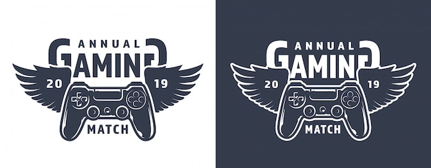 翼のあるゲームパッドのエンブレム