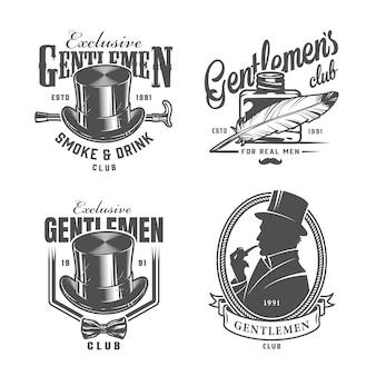 Старинные монохромные логотипы джентльмена