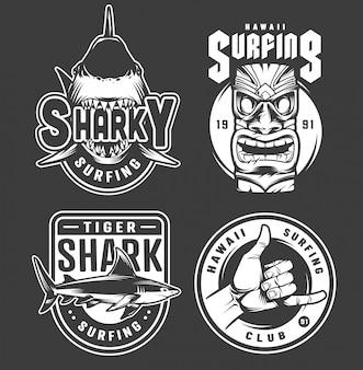 Винтажные монохромные значки для серфинга на гавайях