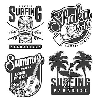 Винтажные монохромные эмблемы для серфинга