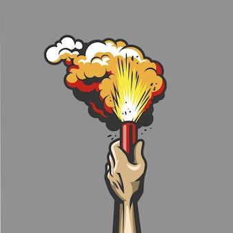 手に煙爆弾