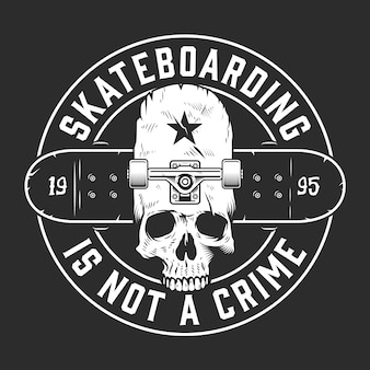 ビンテージスケートボードモノクロラウンドエンブレム