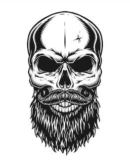 Винтаж модный лысый битник шаблон черепа