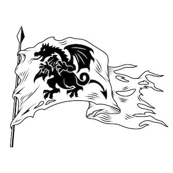 ドラゴンとモノクロの旗