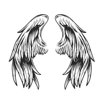 ヴィンテージの天使の羽テンプレート