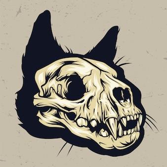 カラフルな猫の頭蓋骨のコンセプト