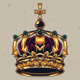 Винтажная красочная богато украшенная концепция королевской короны
