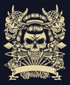 Винтажная татуировка монохромный концепт