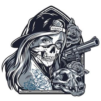 Винтажная девушка с татуировками чикано