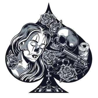 Винтажная концепция татуировки в стиле чикано в форме сердца
