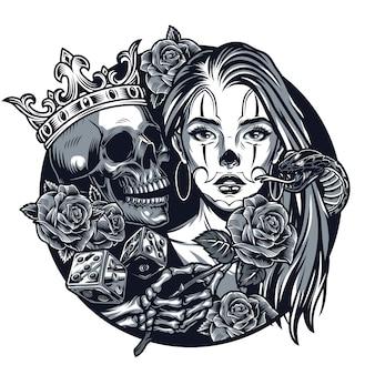 Винтажная татуировка с цикано круглой концепцией