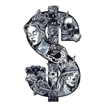 Винтажная татуировка в стиле чикано