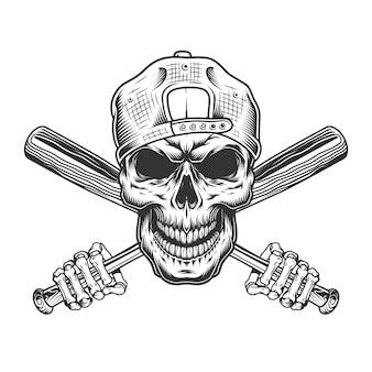 Винтажный череп бандита в хипстерской шапке