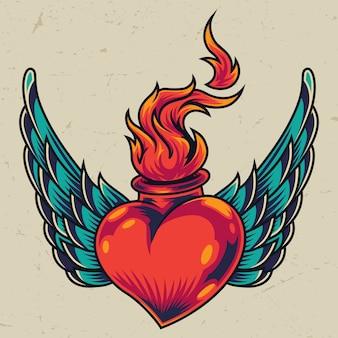 翼のある燃えるような赤いハートのコンセプト