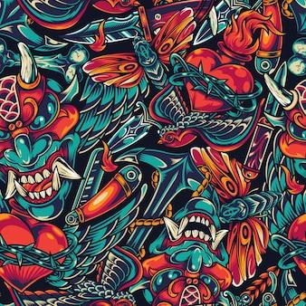 ビンテージの入れ墨のカラフルなシームレスパターン