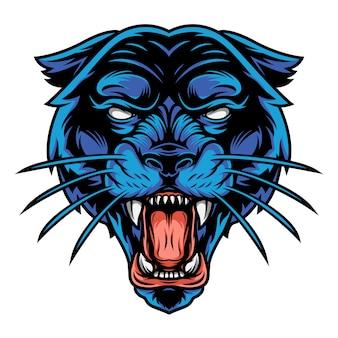 Страшная злая черная пантера голова