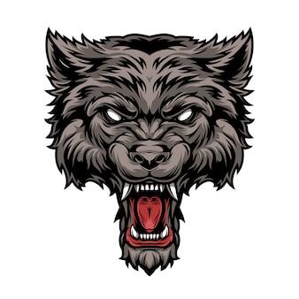 カラフルな危険な怖い猛烈なオオカミの頭