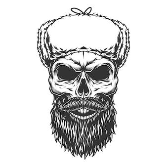 ウシャンカの帽子の頭蓋骨