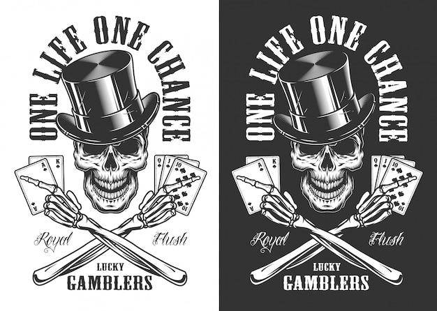 頭蓋骨とカジノのコンセプト