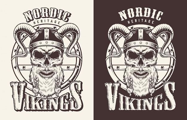Футболка с принтом с головой викинга