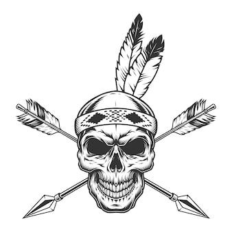 ネイティブアメリカンインディアンの戦士の頭蓋骨