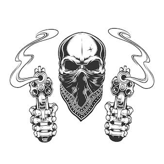 Урожай монохромный бандитский череп в бандане
