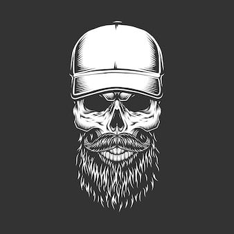 野球帽のヴィンテージモノクロスカル