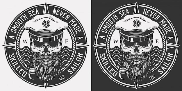 Старинный монохромный морской логотип