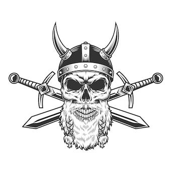Винтажный бородатый череп викинга