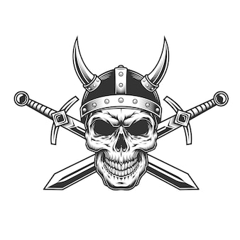 Винтажный монохромный череп викинга