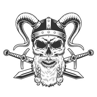 Винтажный строгий бородатый череп викинга
