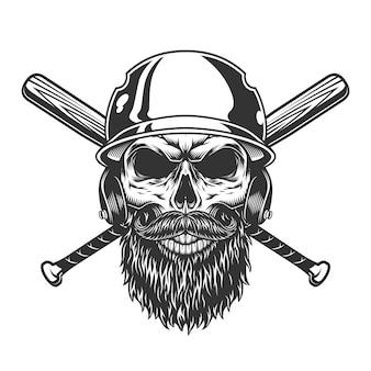 Старинный монохромный череп в бейсбольном шлеме
