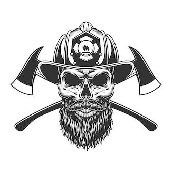 ひげを生やした、ひげを生やした消防士の頭蓋骨