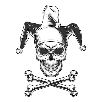 ビンテージモノクロの道化師の頭蓋骨