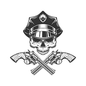警官の帽子に顎のない頭蓋骨