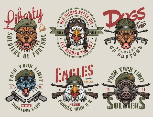 Яркие старинные этикетки с изображением армии и животных