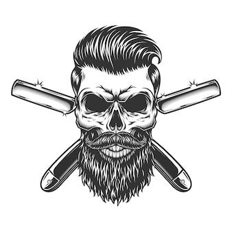 ひげを生やした、ひげを生やした理髪店の頭蓋骨