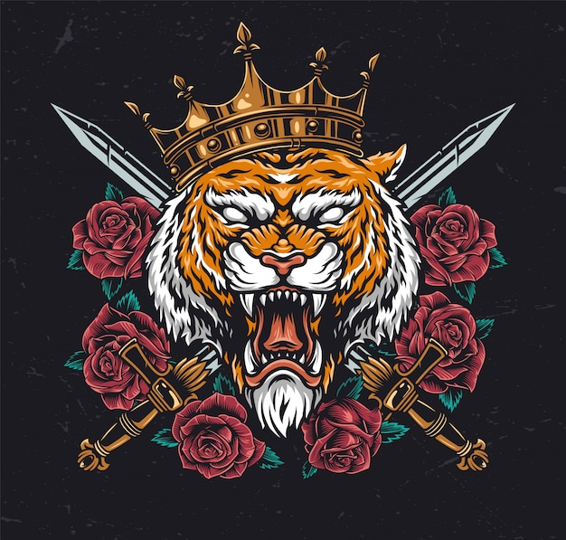 クラウンで怒っている虎の頭