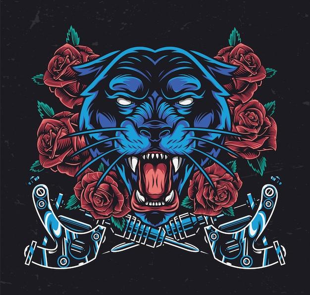 凶暴な黒豹頭